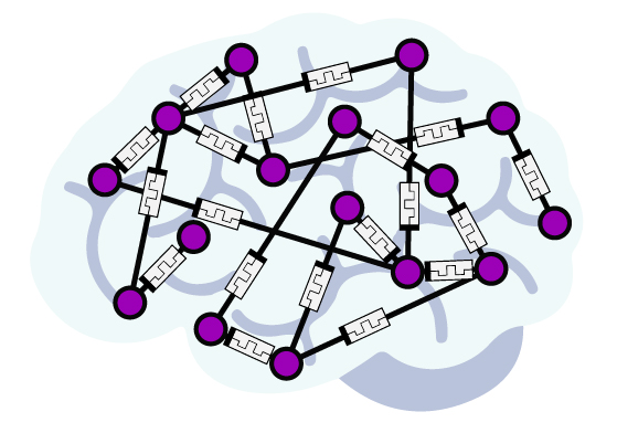 Purple dots connected by lines